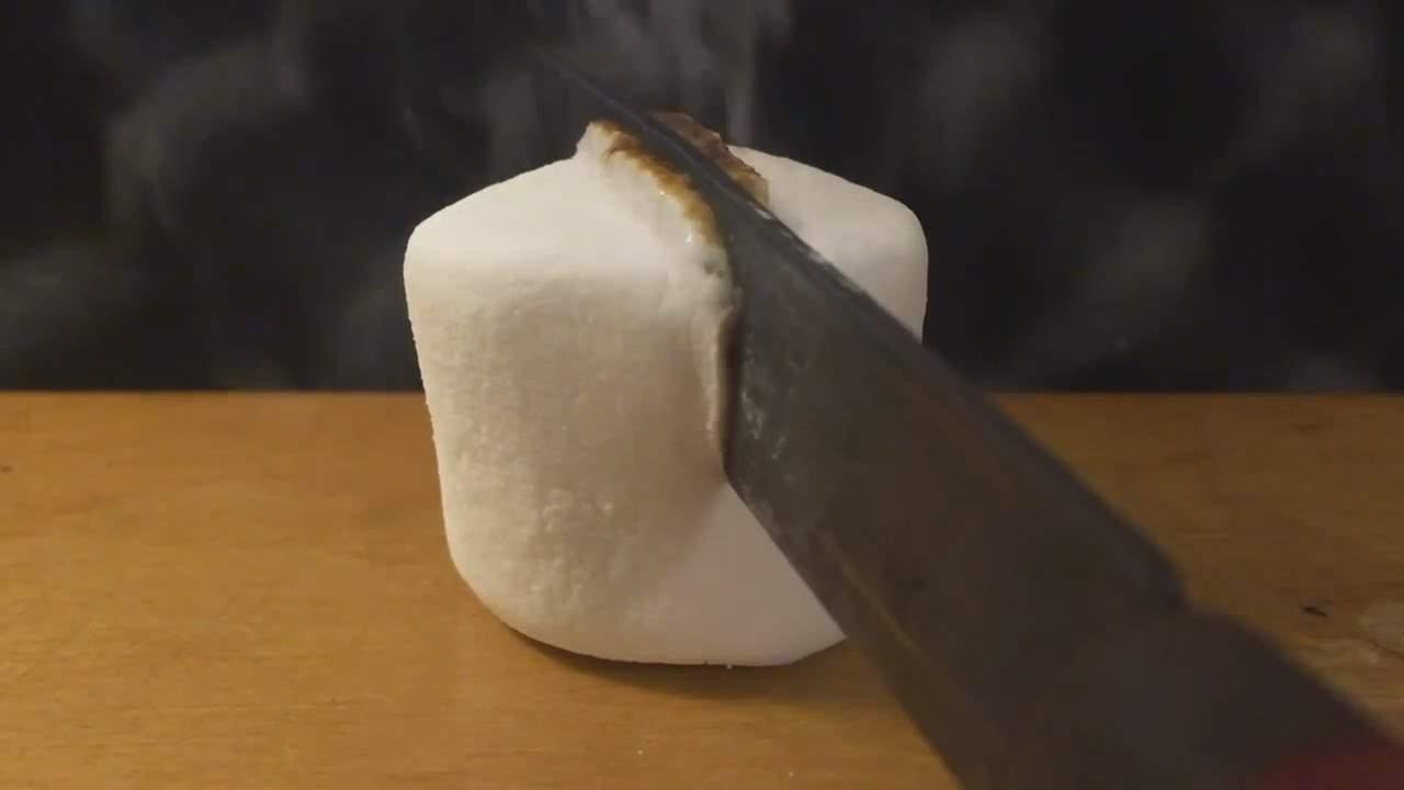 Hot Knife Cutting A Marshmallow