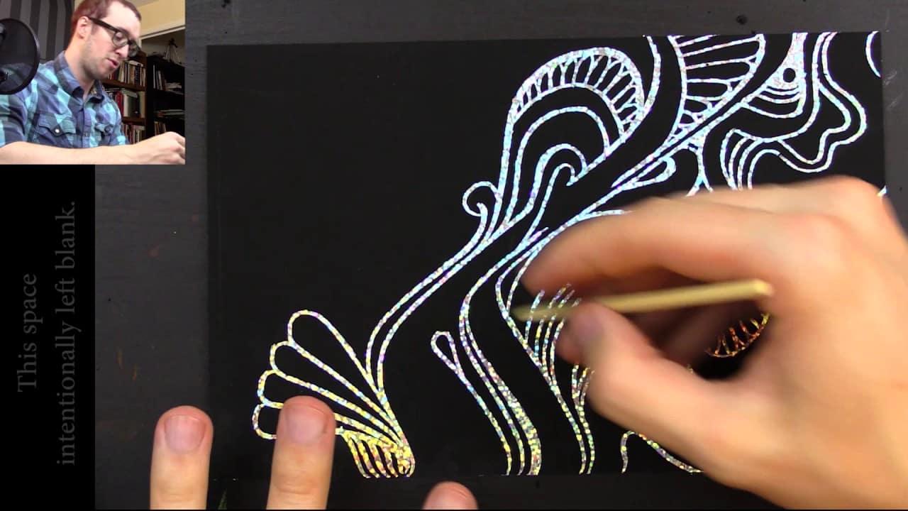 ASMR Drawing On A Glittery Scratchboard